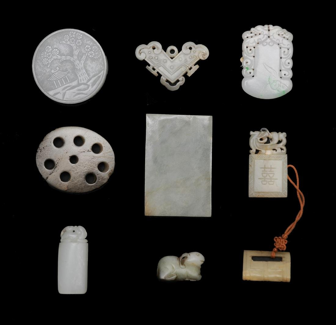 9 Chinese Jade & Jadeite Objects, 18 - 19th C