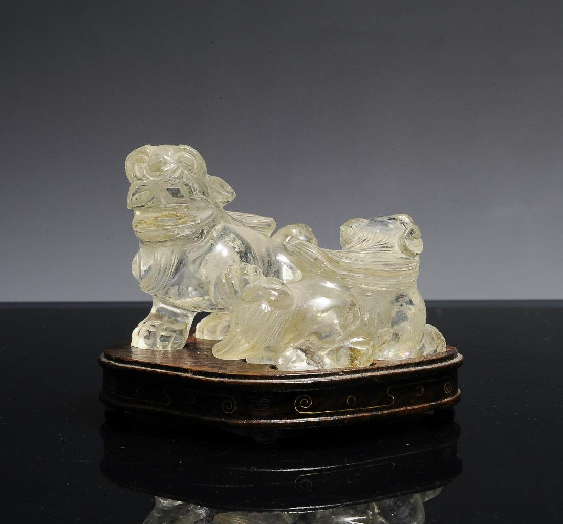 Chinese Pair of Rock Crystal Lions, Early 20th C