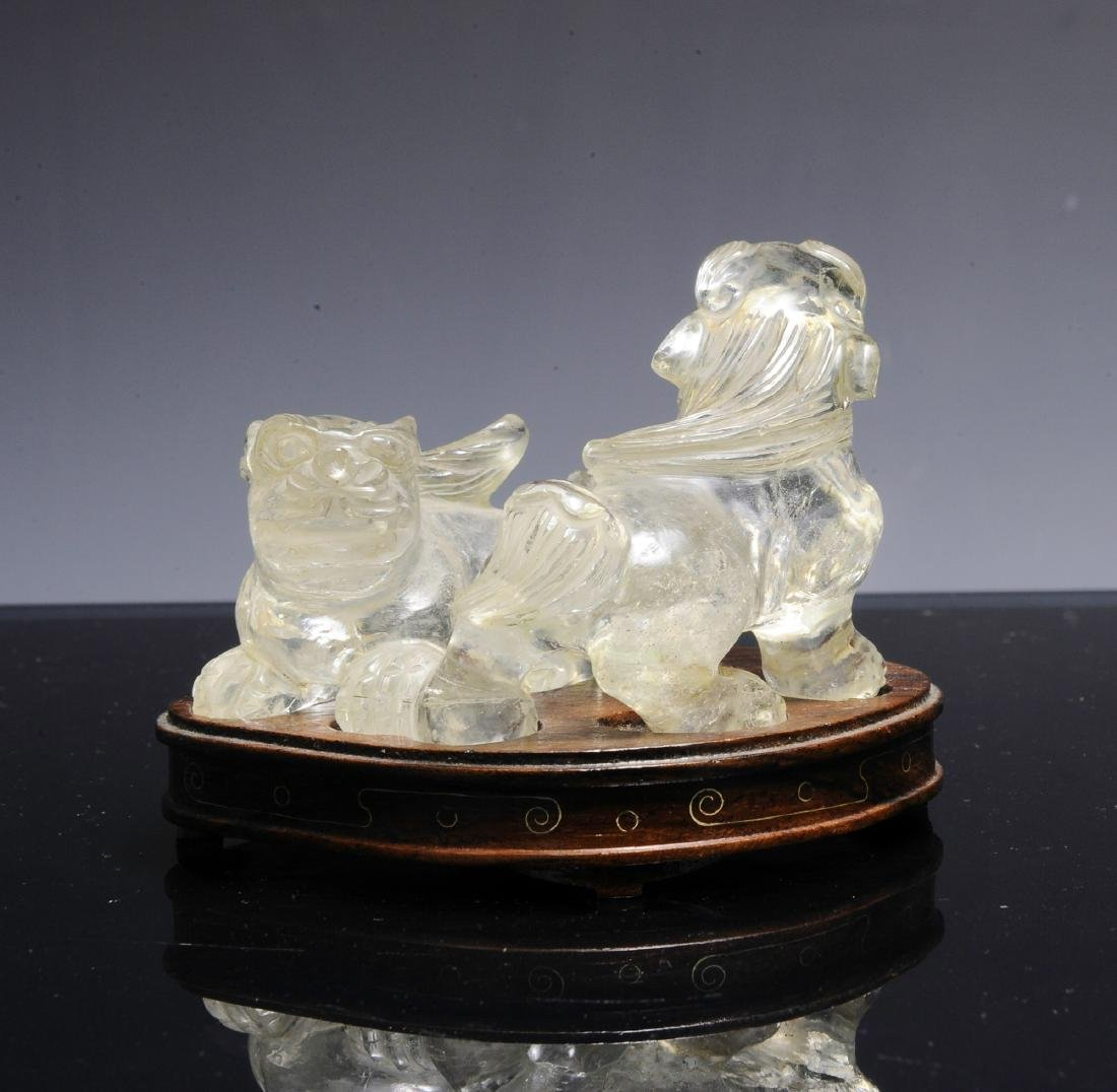 Chinese Pair of Rock Crystal Lions, Early 20th C - 3