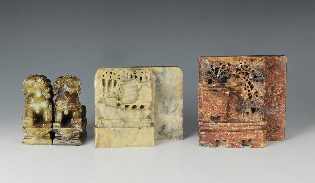 3 Pairs of Chinese Soapstone Bookends, Republic