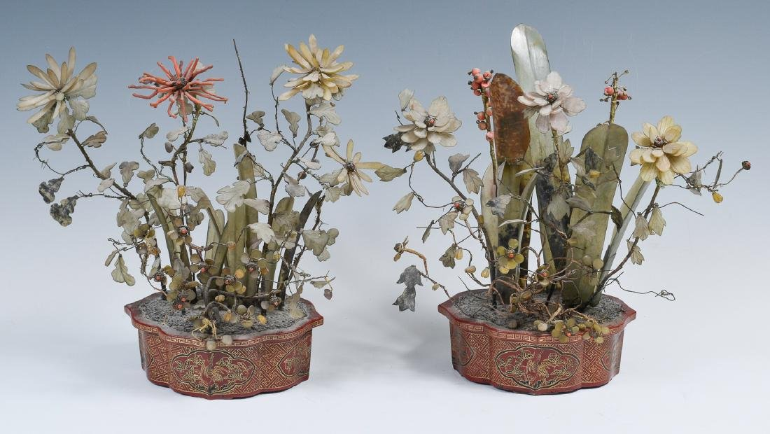 Chinese Pair of Stone & Lacquer Flower Pots