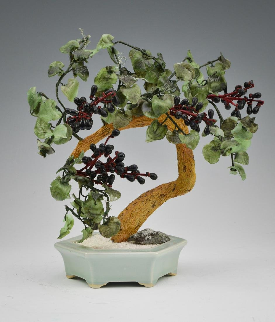 Small Glass Asian Tree in Planter