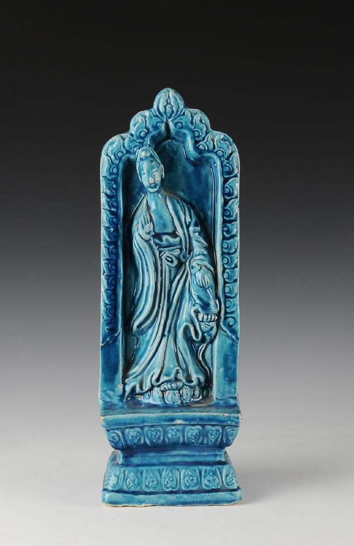 Chinese Guanyin Pottery Figure, Xuande Mark, Ming