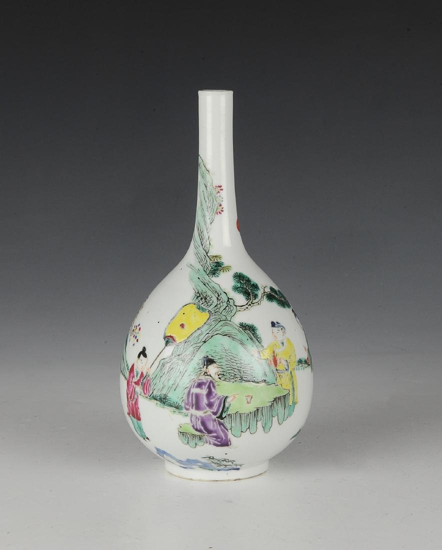 Chinese Famille Rose Stick Neck Vase, 18th -19th C