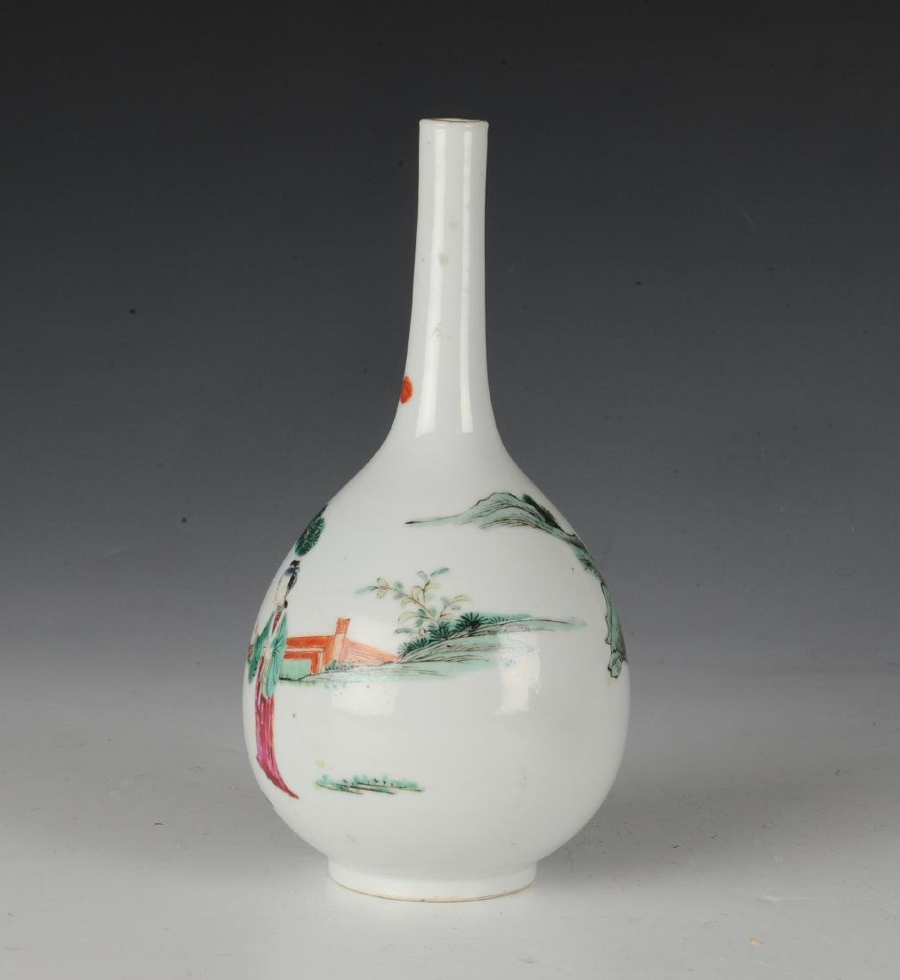Chinese Famille Rose Stick Neck Vase, 18th -19th C - 3