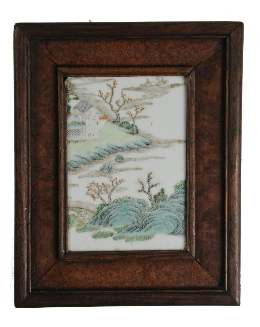 Small Chinese Famille Rose Plaque, 18th - 19th C