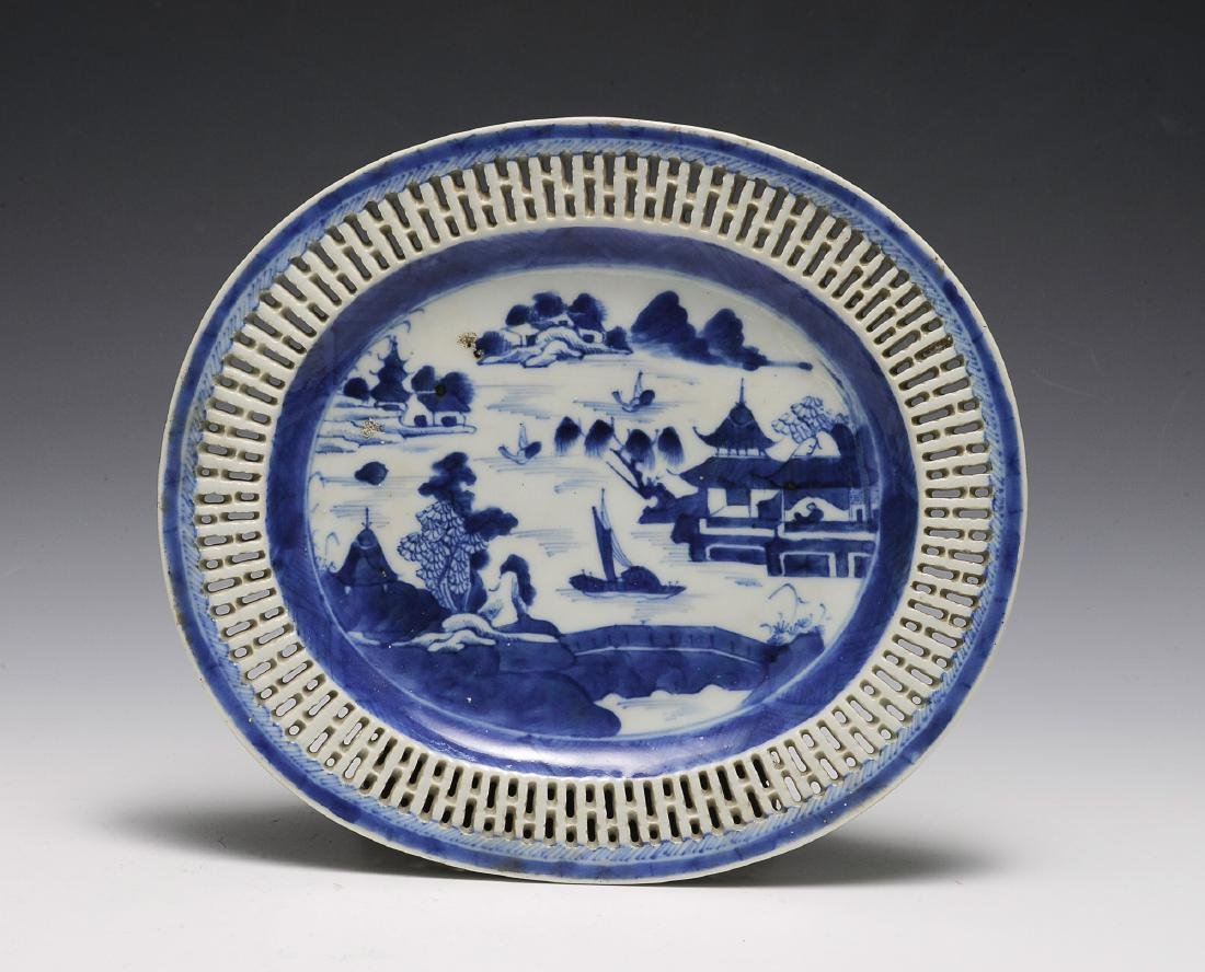 Chinese Blue & White Export Plate, 19th Century
