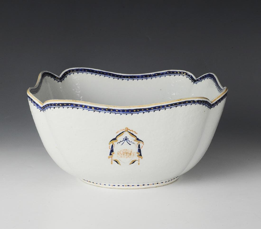 Chinese Export Armorial Cut Corner Bowl, 19th C