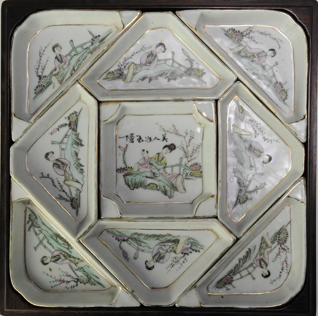 Chinese Porcelain Sectional Tray Set in Box