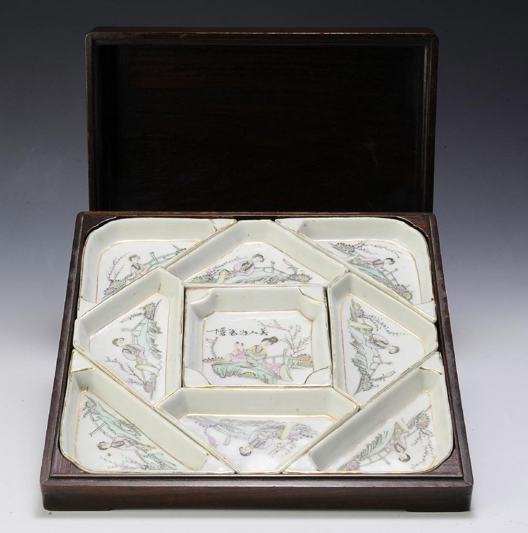 Chinese Porcelain Sectional Tray Set in Box - 2