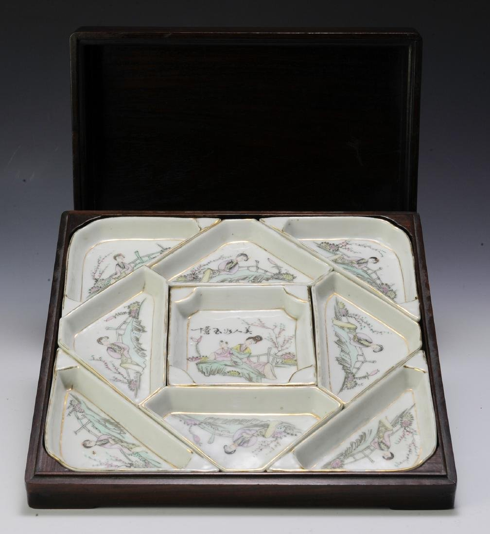 Chinese Porcelain Sectional Tray Set in Box - 3