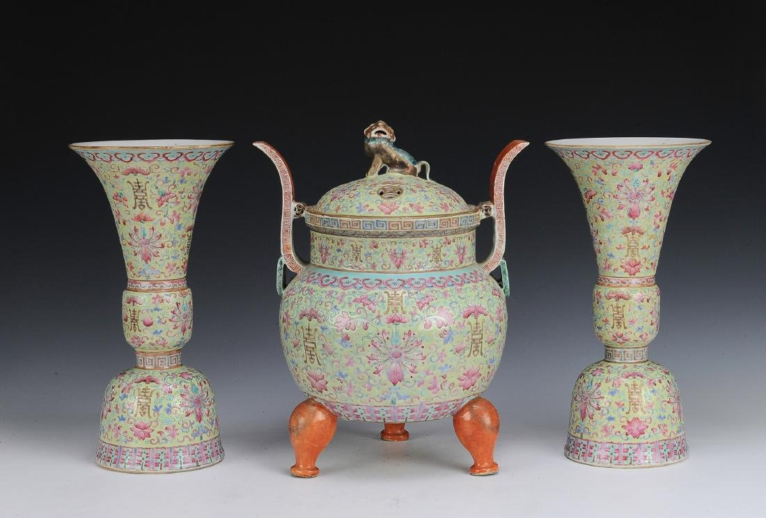 Set of 3 Chinese Porcelain Altar Pieces, 19th C