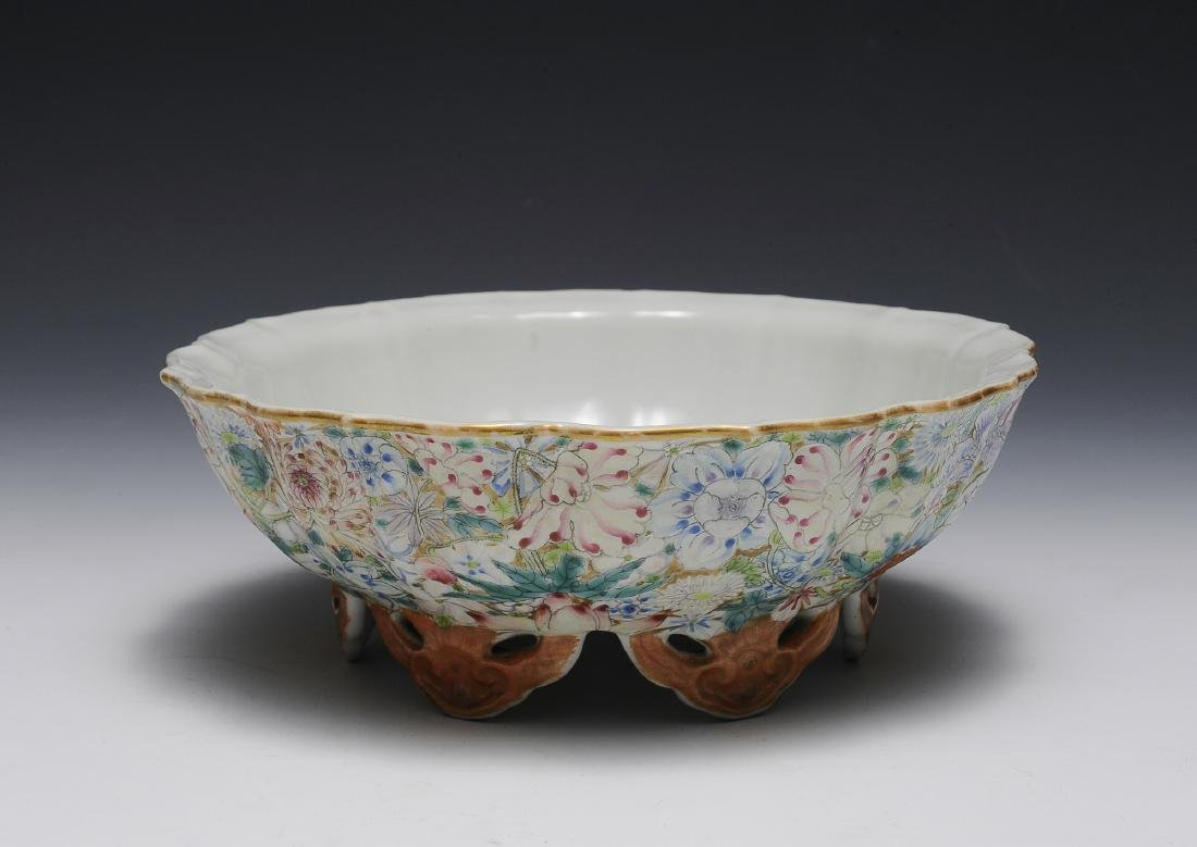 Chinese Millefleur Famille Rose Bowl, 19th C