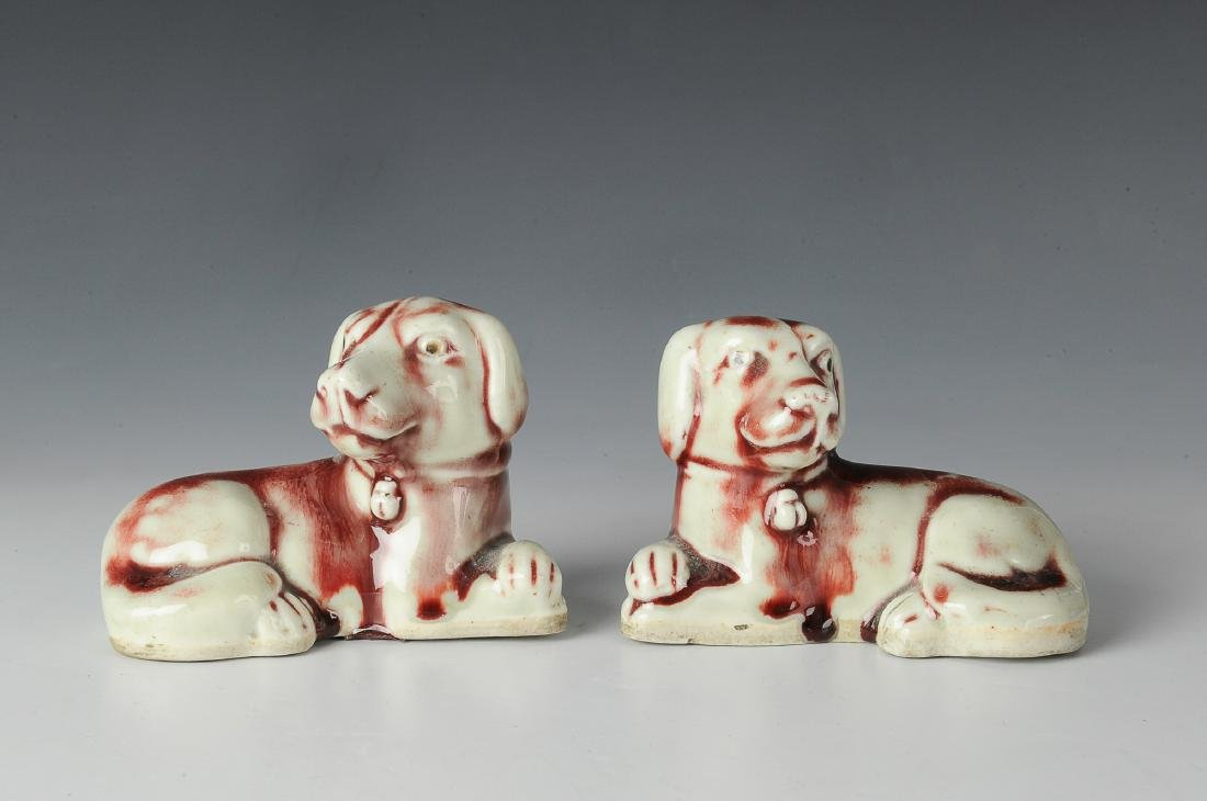 Pair of Chinese Export Porcelain Dogs, 19th C
