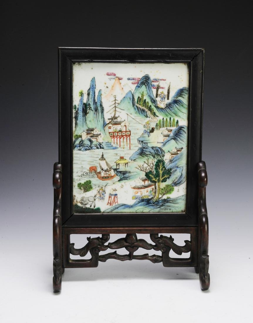 Small Chinese Porcelain Table Screen, 19th C