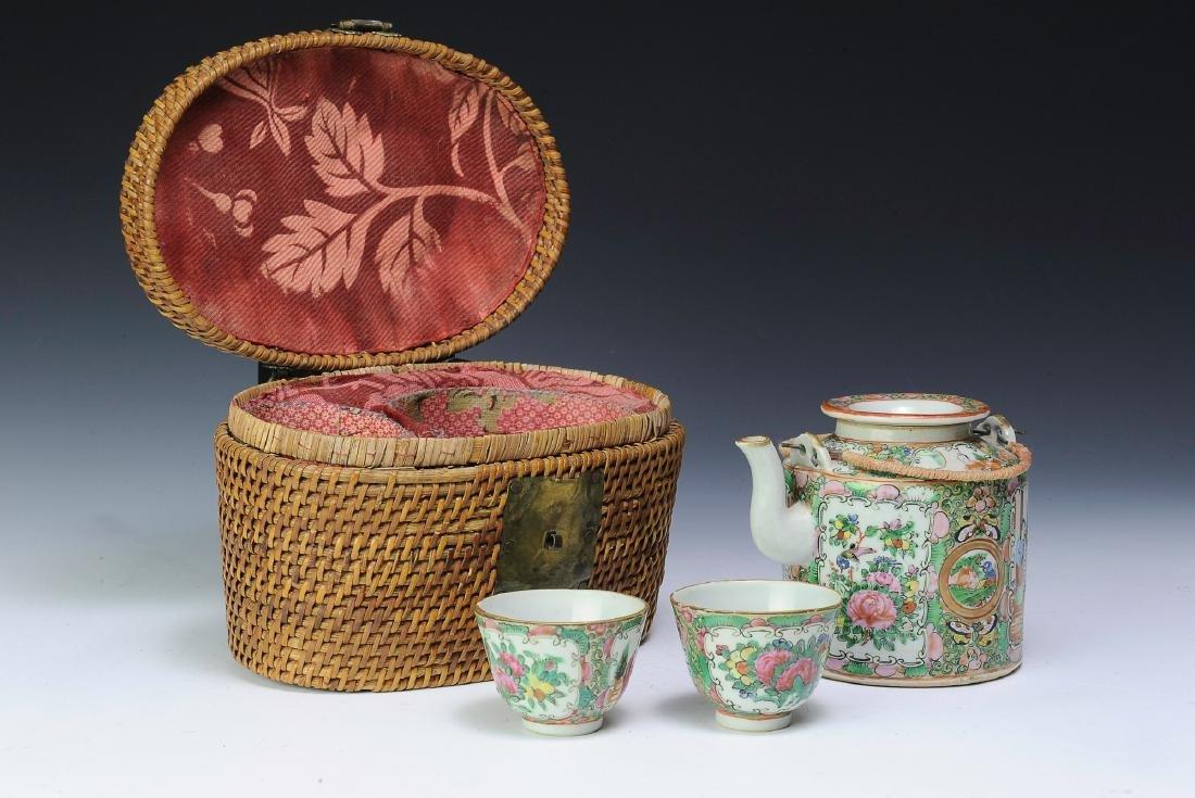 Chinese Export Tea Set & Basket, Late 19th Century