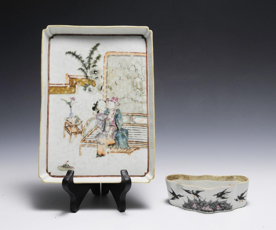 2 Chinese Famille Rose White Ground Items, 19th C