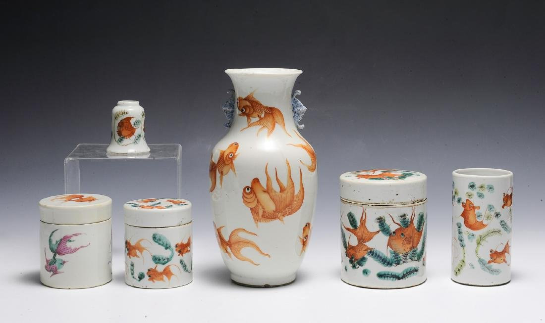 Group of 6 Chinese Goldfish Scholars Items, 19th C