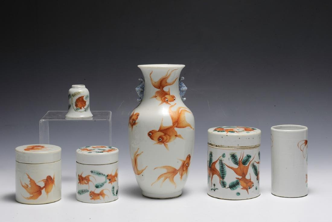 Group of 6 Chinese Goldfish Scholars Items, 19th C - 2