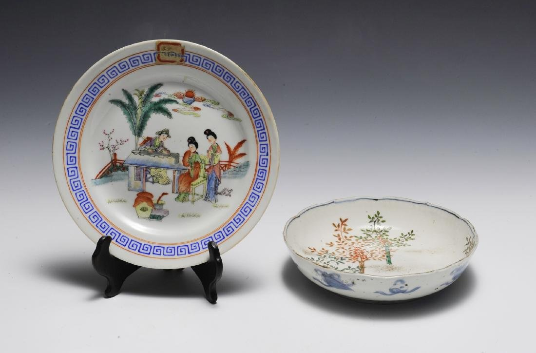 2 Chinese White Ground Export Ware Dishes, 19th C