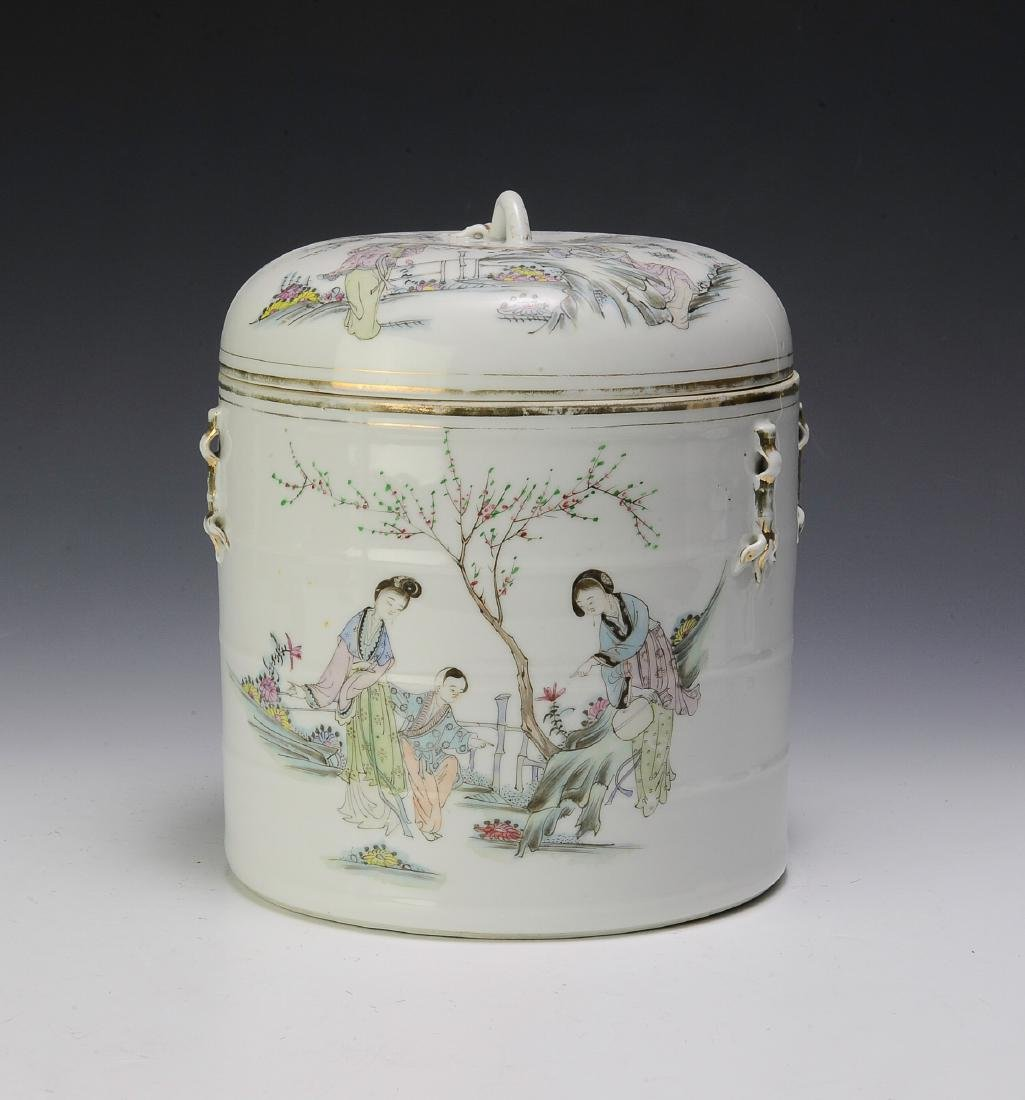 Chinese Famille Rose Lidded Cylinder Jar w/ People