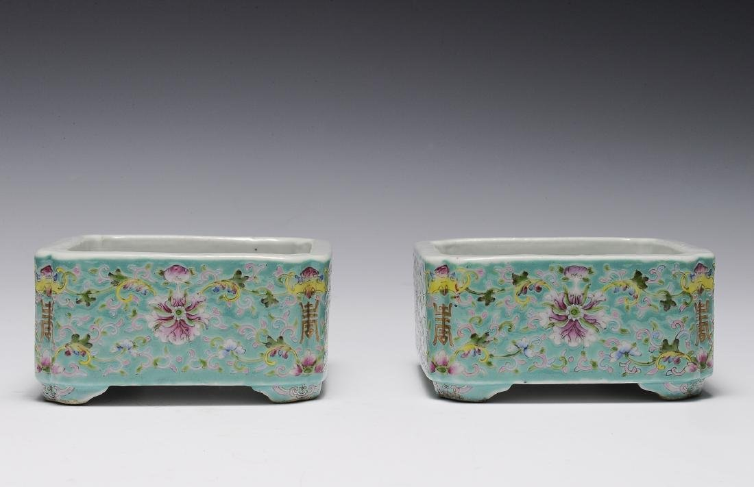 Pair of Chinese Square Famille Rose Brush Washers