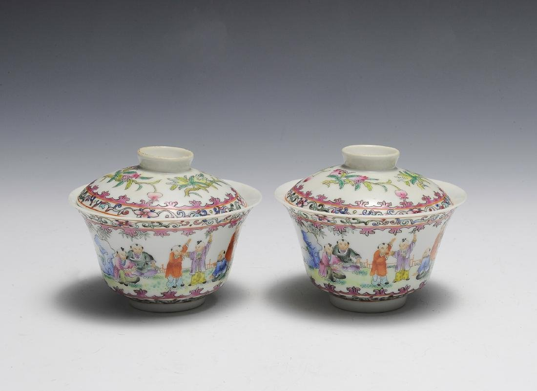 Pair of Chinese Famille Rose Porcelain Lidded Cups