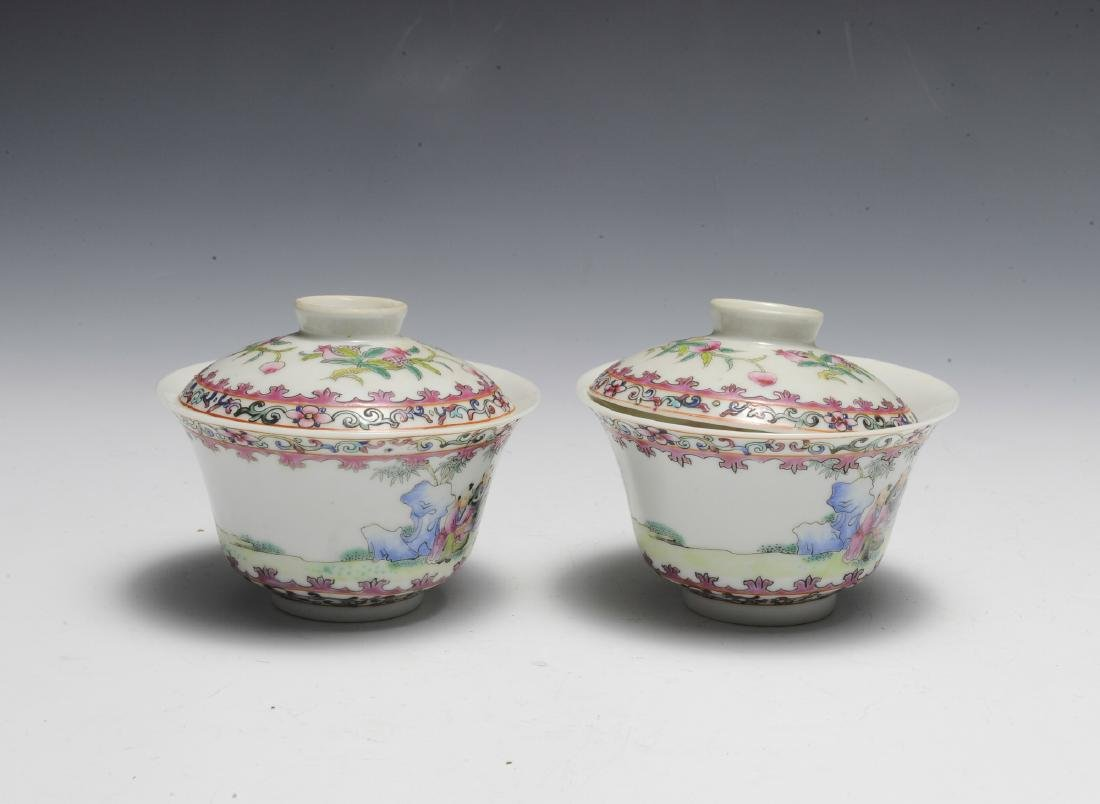 Pair of Chinese Famille Rose Porcelain Lidded Cups - 2