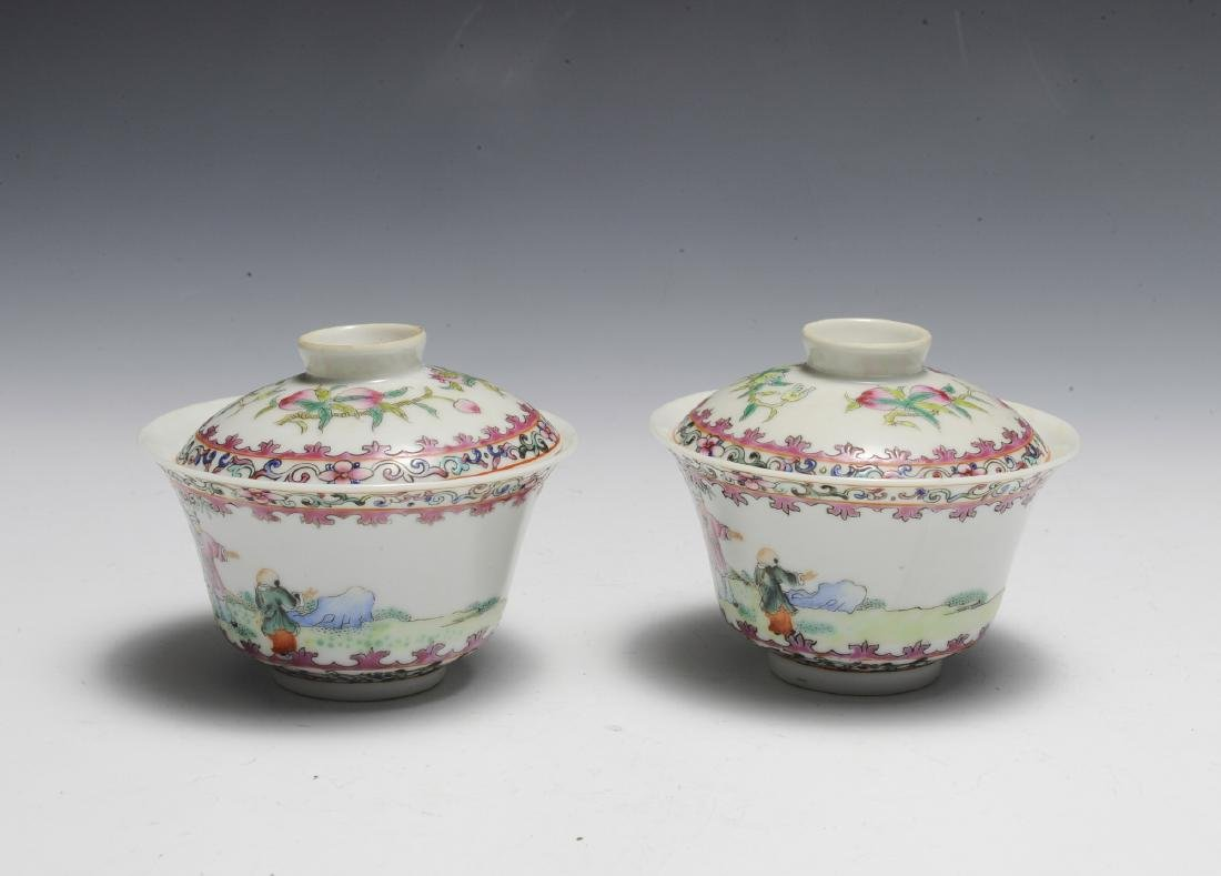 Pair of Chinese Famille Rose Porcelain Lidded Cups - 3