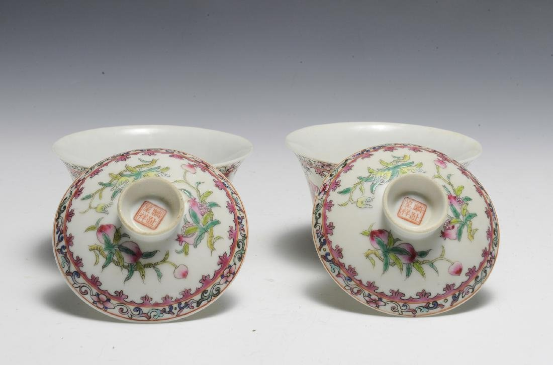 Pair of Chinese Famille Rose Porcelain Lidded Cups - 4