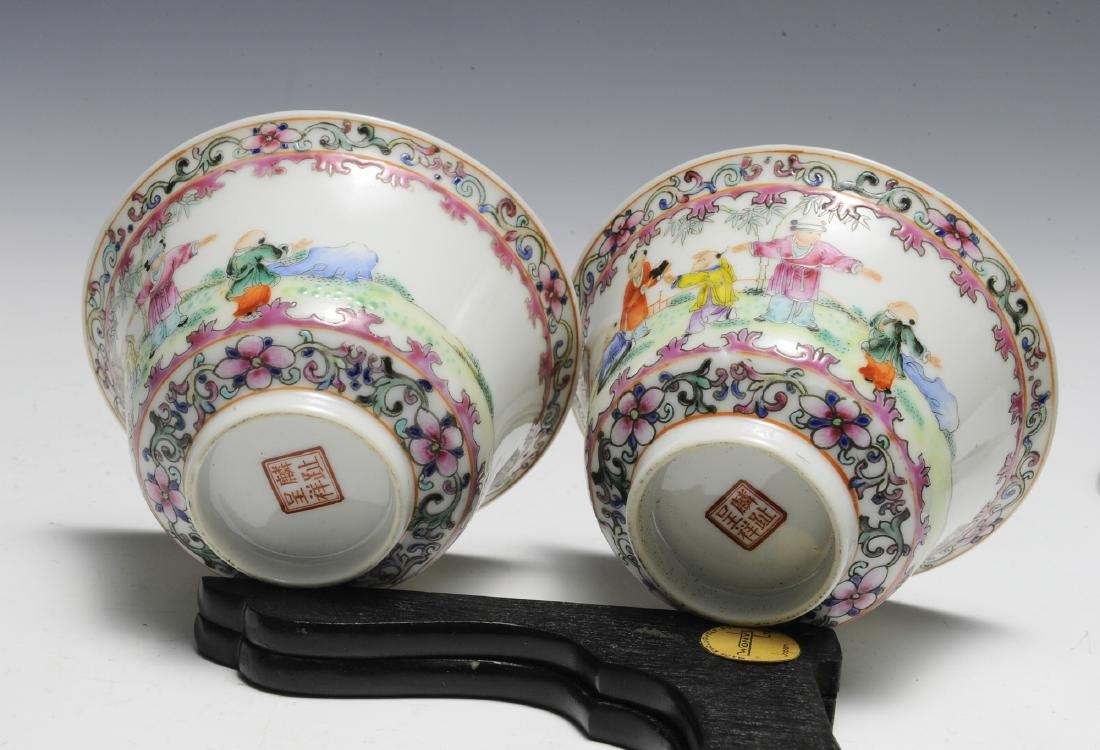 Pair of Chinese Famille Rose Porcelain Lidded Cups - 5