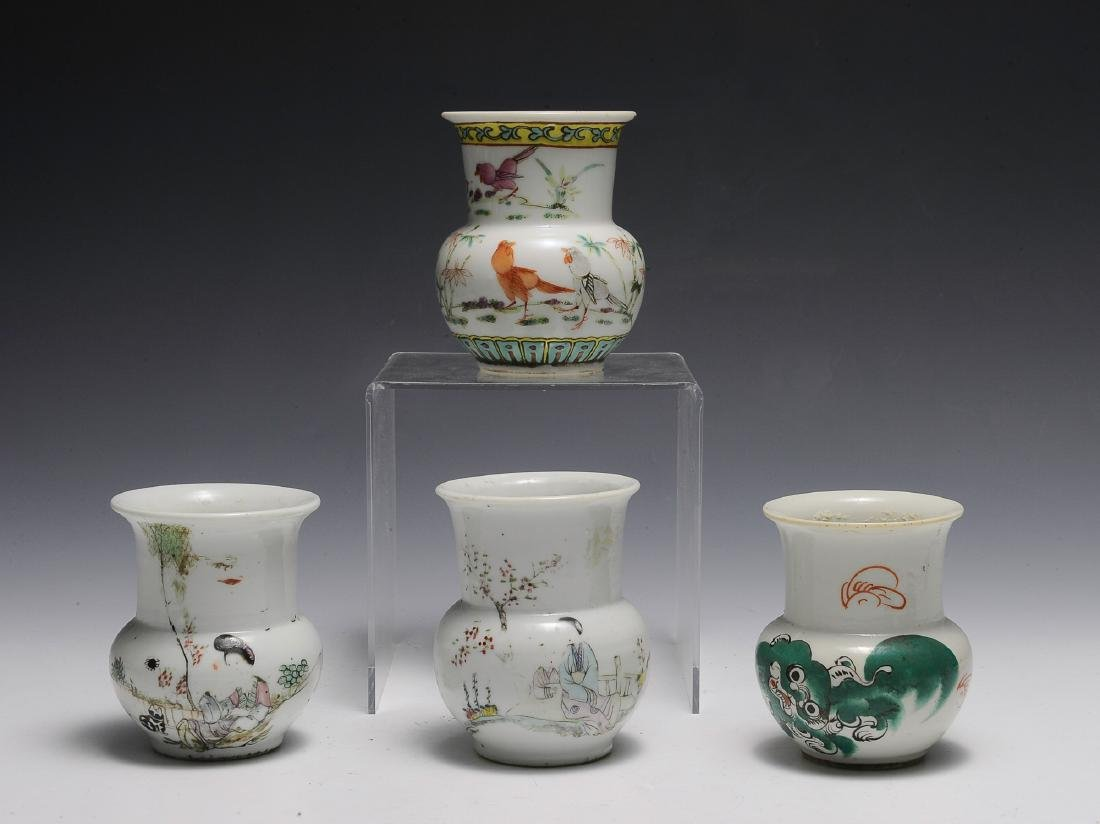 4 Chinese Bulbous Famille Rose Vases 19th C