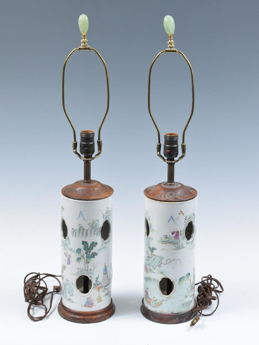 Pair of Chinese Famille Verte Hat Stand Lamps, 19th C
