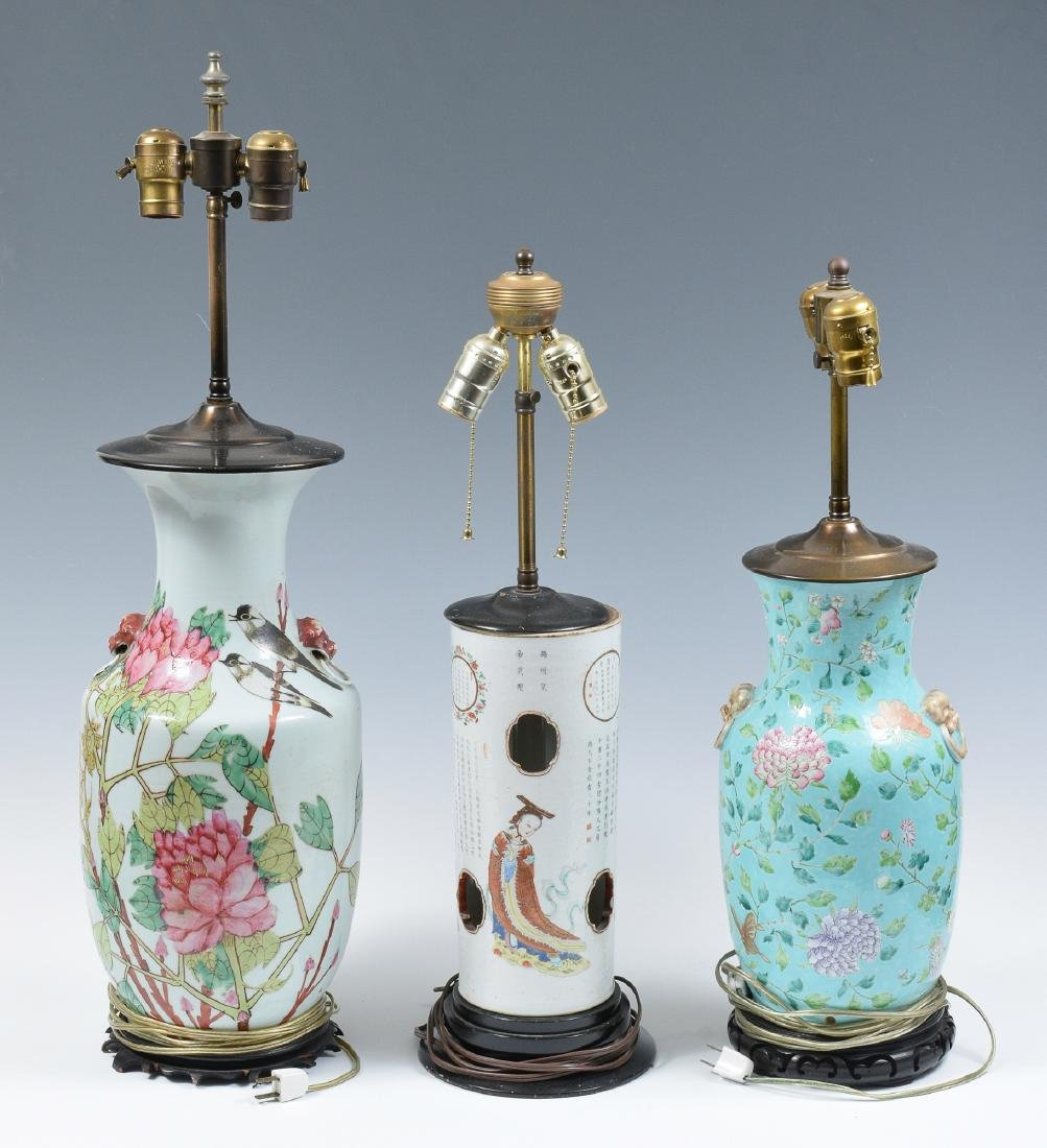 3 Lamps made from Chinese Porcelain Vases