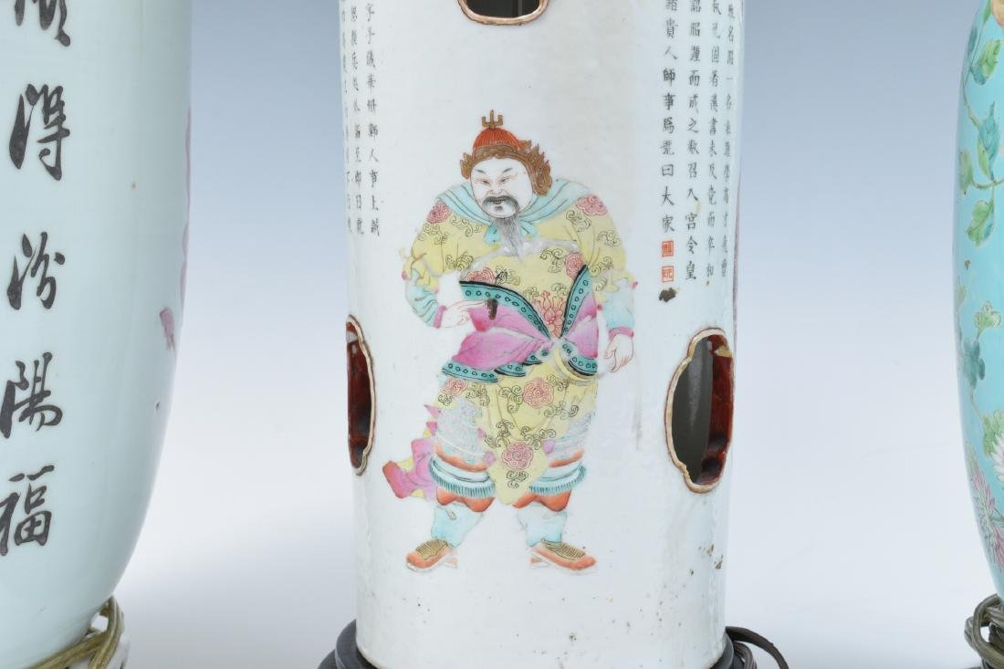 3 Lamps made from Chinese Porcelain Vases - 3