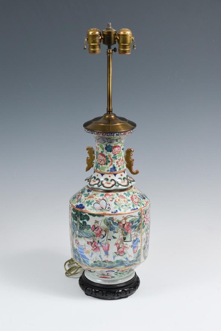 Chinese Porcelain Vase-Form Lamp, Republic