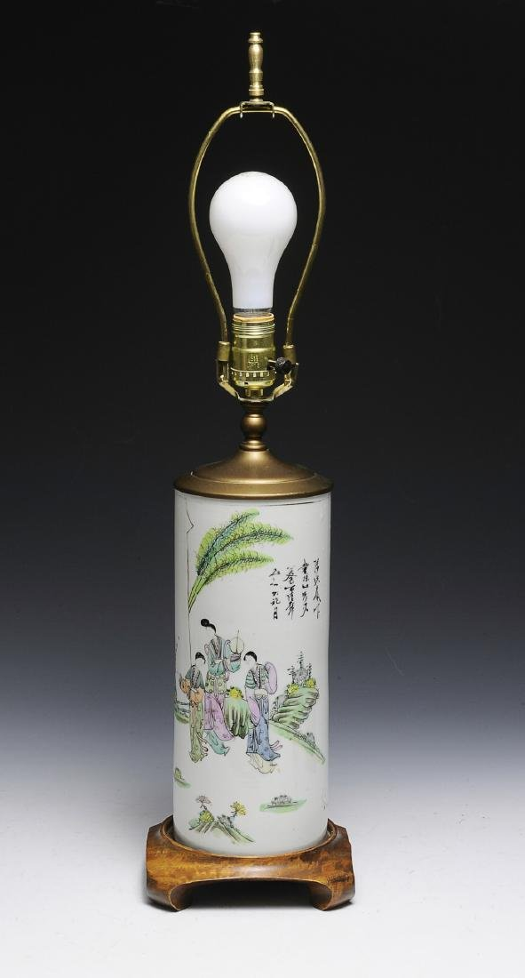 Chinese Famille Rose Vase (Lamp), Late 19th C