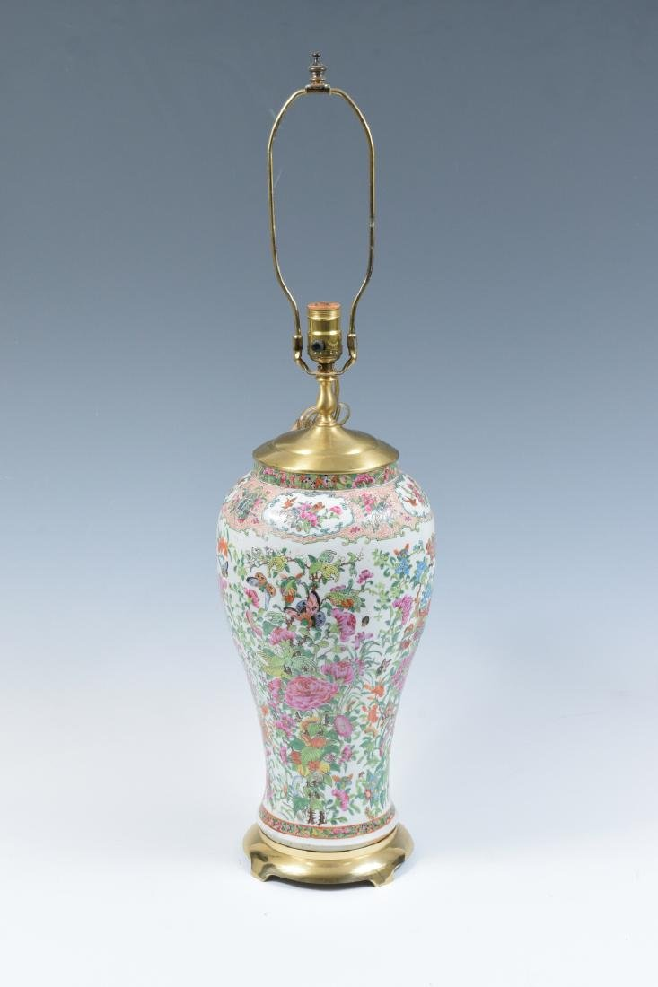Chinese Floral Porcelain Lamp, 19th Century