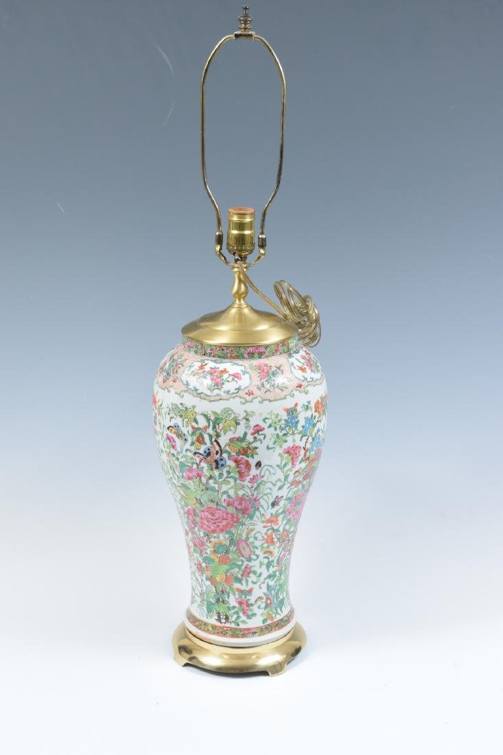 Chinese Floral Porcelain Lamp, 19th Century - 4
