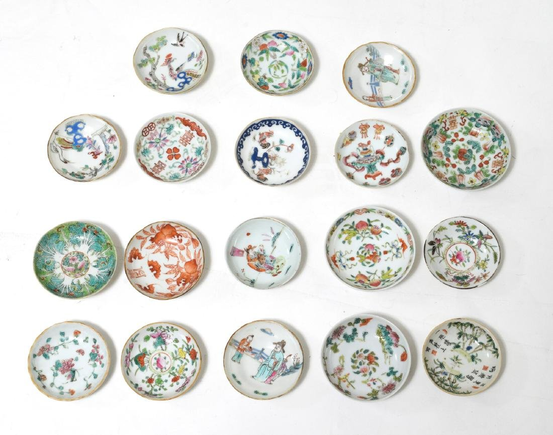 18 Small Chinese Porcelain Dishes, 19th C
