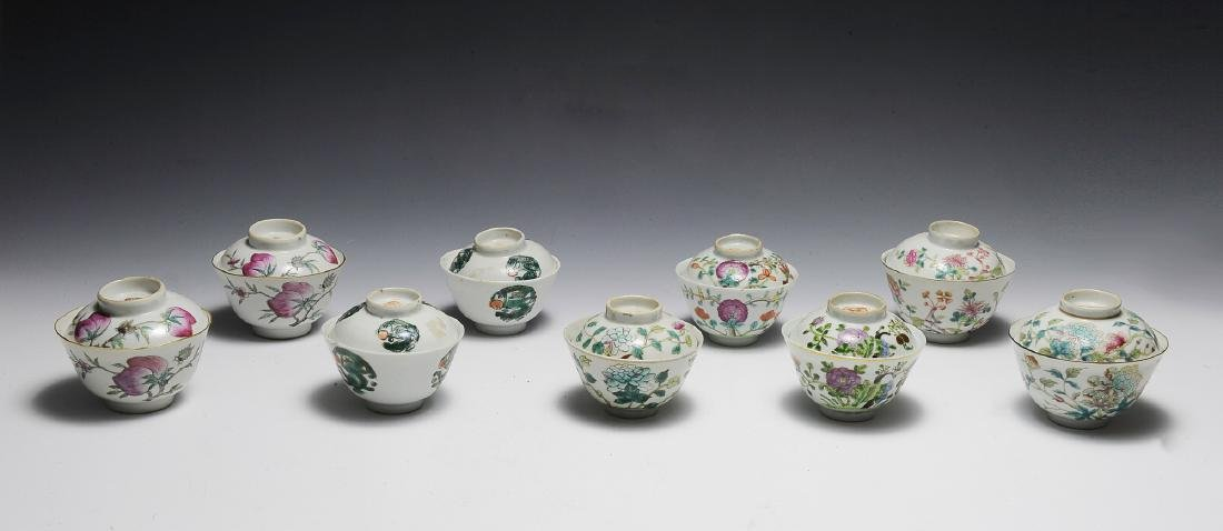 9 Covered Chinese Porcelain Bowls, 19th Century