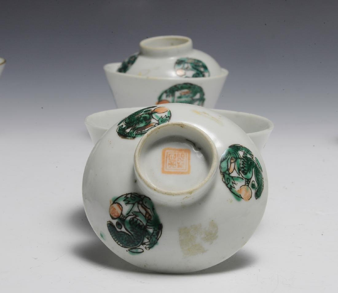 9 Covered Chinese Porcelain Bowls, 19th Century - 3