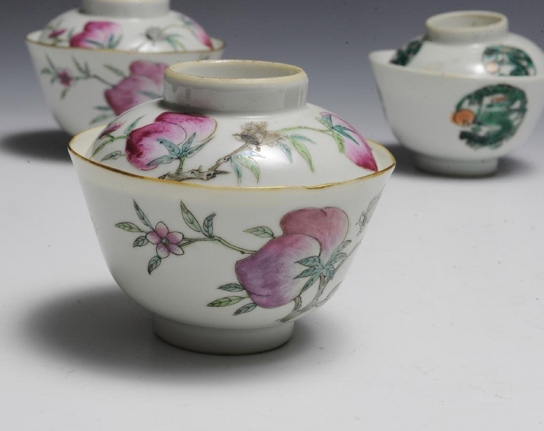 9 Covered Chinese Porcelain Bowls, 19th Century - 5