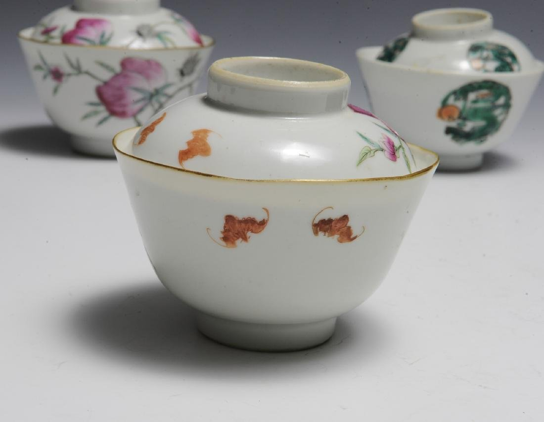 9 Covered Chinese Porcelain Bowls, 19th Century - 6