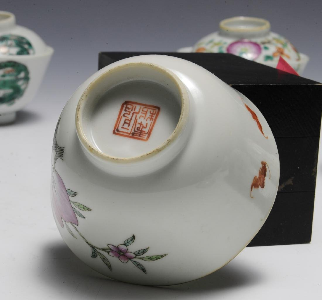 9 Covered Chinese Porcelain Bowls, 19th Century - 8