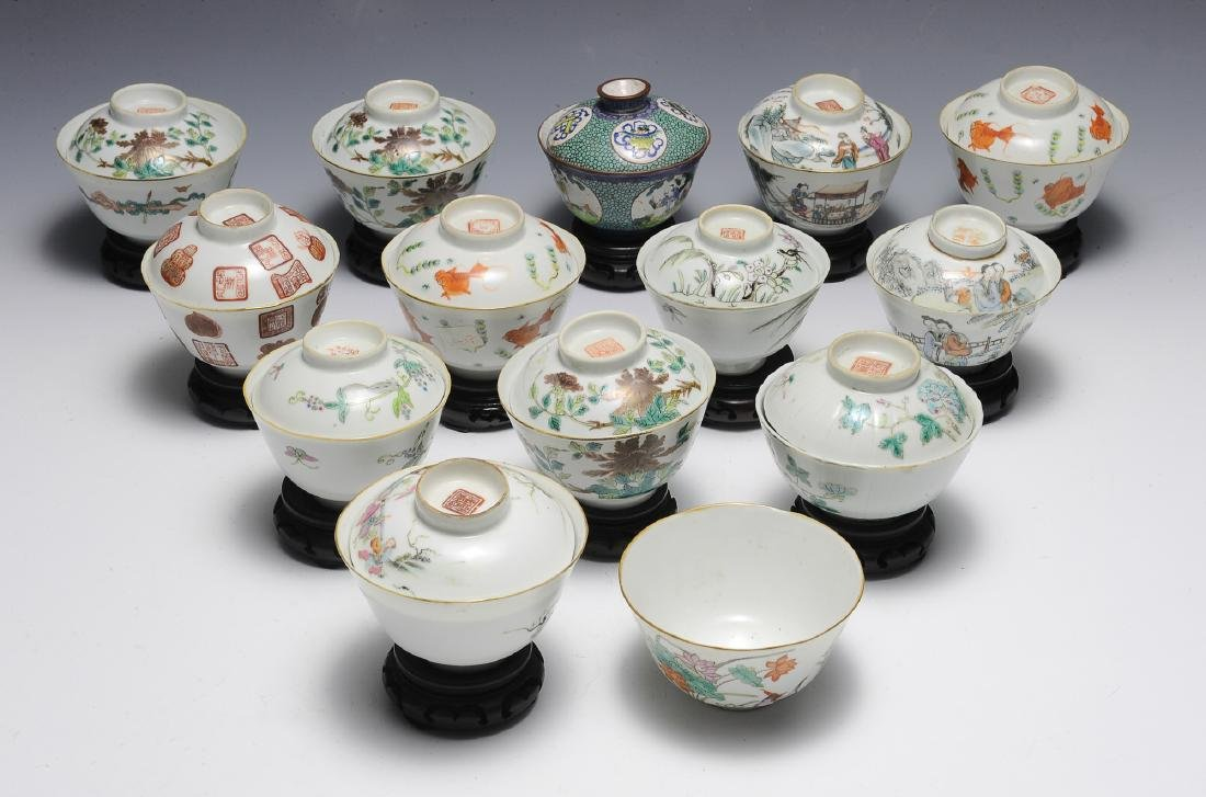 13 Covered & 1 Uncovered Chinese Porcelain Bowls
