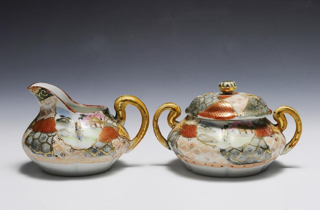 Imari Style Sugar Bowl and Creamer Set