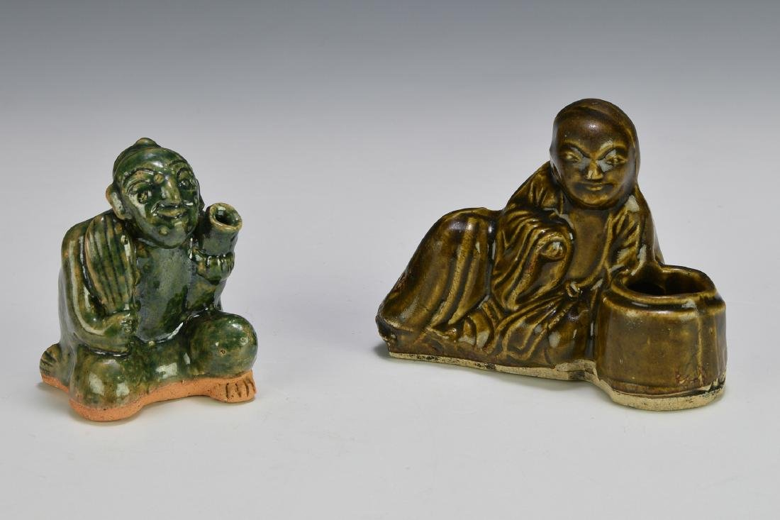 2 Chinese Figural Ceramic Scholars Items, 19th C