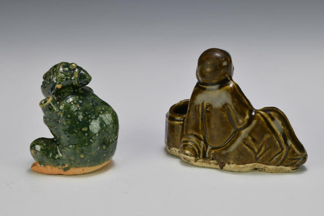 2 Chinese Figural Ceramic Scholars Items, 19th C - 2