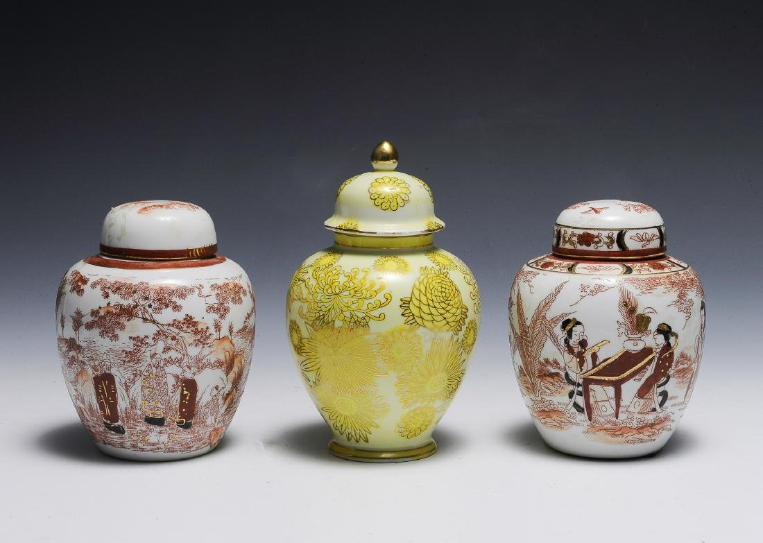 Trio of Small Chinese Porcelain Lidded Jars